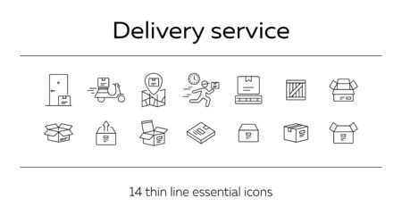 Delivery service icons. Set of line icons. Empty box, courier, delivery calendar. Parcel concept. Vector illustration can be used for topics like logistics, distribution, packing Stock Vector - 129772162
