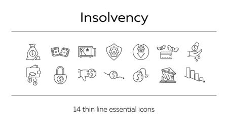 Insolvency line icon set. Recession, decrease, money. Crisis concept. Can be used for topics like insurance, business, economy