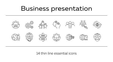 Business process icons. Set of line icons. Money, teamwork, worldwide. Business concept. Vector illustration can be used for topics like communication, business, partnership