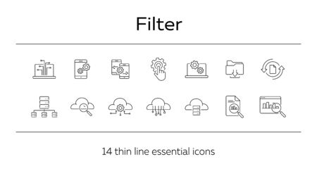Filter line icon set. Data, setting, archive. Server concept. Can be used for topics like software, database, technology