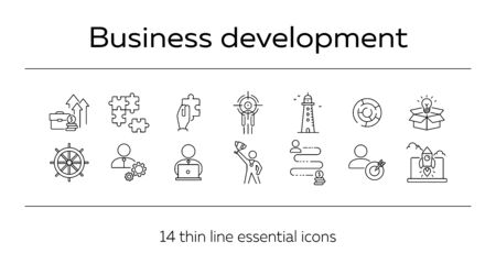 Business development icon set. Line icons collection on white background. Logic, efficiency, creativity. Innovation concept. Can be used for topics like management, strategy, solution Çizim