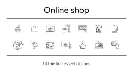 Online shop line icon set. Mobile phone, shopping cart, bag, credit card. Ecommerce concept. Can be used for topics like internet store, buying, commerce Standard-Bild - 129863483