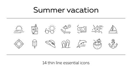 Summer vacation line icon set. Beach chair, ice cream, sailing. Beach concept. Can be used for topics like tropical resort, relax, seaside