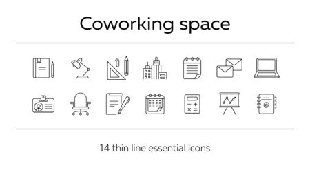 Coworking space icon set. Line icons collection on white background. Document, supplies, stationary. Office concept. Can be used for topics like business, management, start-up