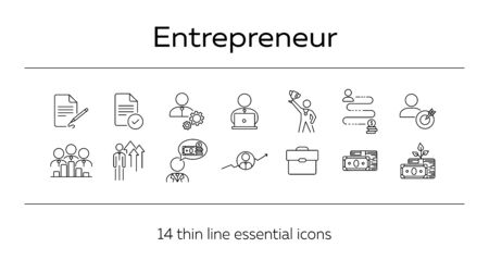 Entrepreneur line icon set. Businessman, investor, manager. Business concept. Can be used for topics like startup, investment, finance consulting