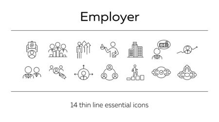 Employer line icon set. Team, candidate, office worker. Business concept. Can be used for topics like boss, interview, employment