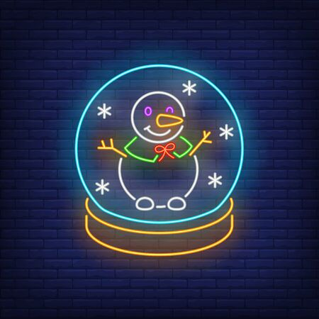 Snowman in snow globe neon sign. Winter season, Christmas design. Night bright neon sign, colorful billboard, light banner. Vector illustration in neon style.
