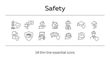 Safety line icon set. Protection, home, document. Insurance concept. Can be used for topics like accident, property, damage Illustration