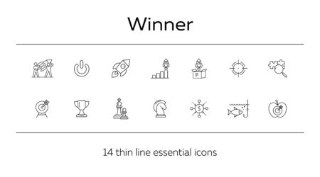 Winner line icon set. Goal, strategy, rocket, launch, start. Business concept. Can be used for topics like success, leader, leadership
