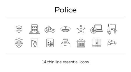 Police line icon set. Car, department, cap. Law and order concept. Can be used for topics like justice, crime, investigation, court Stock Illustratie