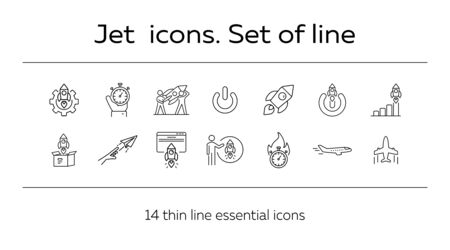 Jet icons. Set of line icons. Startup, inspiration, launch.. Business concept. Vector illustration can be used for topics like startup, industry, creativity.
