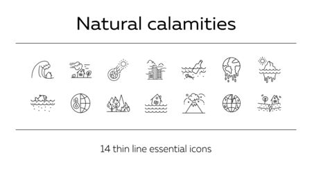 Natural calamities icons. Set of line icons. Forest fire, earthquake, melting glacier. Ecology concept. Vector illustration can be used for topics like environment protection, nature Stock Vector - 129863643