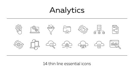 Analytics line icon set. Report, information, computer. Technology concept. Can be used for topics like cloud server, network, hosting