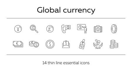 Global currency icon set. Dollar, cash, tax. Finances concept. Can be used for topics like converting money, trade, economy Ilustrace