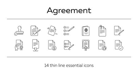 Agreement line icon set. Certificate, schedule, paper. Documents concept. Can be used for topics like paperwork, office, business