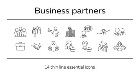 Business partners line icon set. Team, coworkers, handshake, meeting. Partnership concept. Can be used for topics like cooperation, collaboration, teamwork Ilustrace