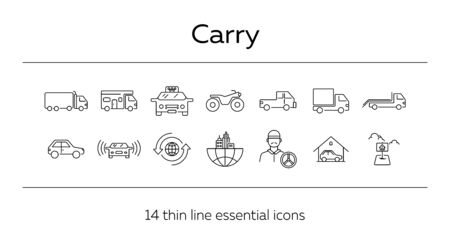 Carry line icon set. Semi truck, taxi, pickup, city. Transport concept. Can be used for topics like delivery, logistics, travel