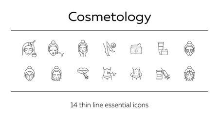 Conjunto de iconos de línea de cosmetología. Cuerpo, labios, cremas, rostro, depilación. Concepto de cuidado de la belleza. Se puede utilizar para temas como salón de belleza, cuidado de la piel, cosmetóloga, cosméticos.