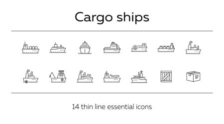 Cargo ships line icon set.Sea transportation concept. Vector illustration can be used for topics like marine, transport, travel