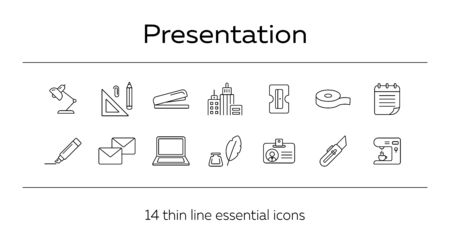 Presentation icon set. Line icons collection on white background. Supply, stationary, workspace. Office concept. Can be used for topics like school, college, business Ilustrace