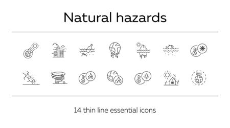 Natural hazards icons. Set of line icons. Liquid wastes, melting planet, tornado. Ecology concept. Vector illustration can be used for topics like environment protection, nature Stock Vector - 129863759