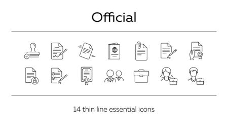 Official line icon set. Stamp, certificate, passport, consultant, businessman. Business concept. Can be used for topics like consulting, lawyer, notary