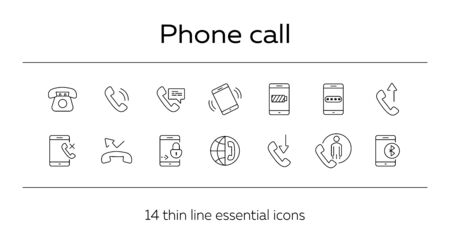 Phone call icons. Set of line icons. Time of call, password, phone conversation. Mobile phone concept. Vector illustration can be used for topics like technology, communication, connection Illustration
