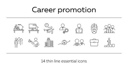 Career promotion line icon set. Employee, workplace, office building. Career concept. Can be used for topics like professional, leader, office worker Ilustración de vector