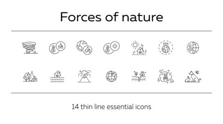 Forces of nature icons. Set of line icons. Forest fire, earthquake, tornado. Ecology concept. Vector illustration can be used for topics like environment protection, nature