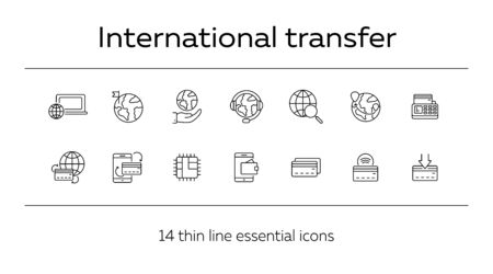 International transfer line icon set. Banking and money transfer concept. Vector illustration can be used for topics like shopping, supermarkets, stores