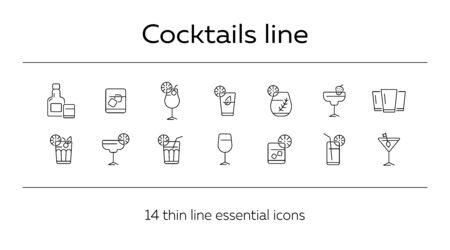 Cocktails line icons. Set of line icons. Beer mug, bottle with glass. Beverage concept. Vector illustration can be used for topics like advertising, business Archivio Fotografico - 129773105