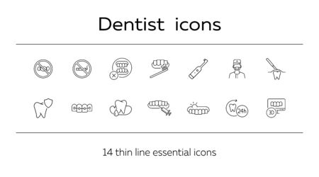 Dentist icons. Set of line icons. Doctor, tooth, pain. Medicine concept. Vector illustration can be used for topics like stomatology, treatment, patient Фото со стока - 129772257