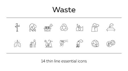 Waste line icon set. Planet, trash bin, car, factory. Environment concept. Can be used for topics like air pollution, toxic fumes, recycling  イラスト・ベクター素材