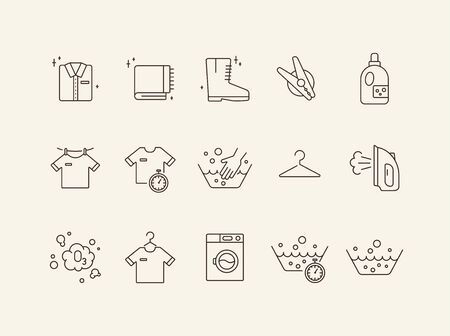 Housekeeping line icon set. Basin, hand washing, clothing. Laundry concept. Can be used for topics like domestic work, household, routine Vectores