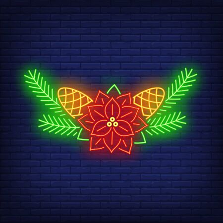 Poinsettia flower, fir-tree needles and cones neon sign. Christmas and New Year Day decor design. Night bright neon sign, colorful billboard, light banner. Vector illustration in neon style. 矢量图像