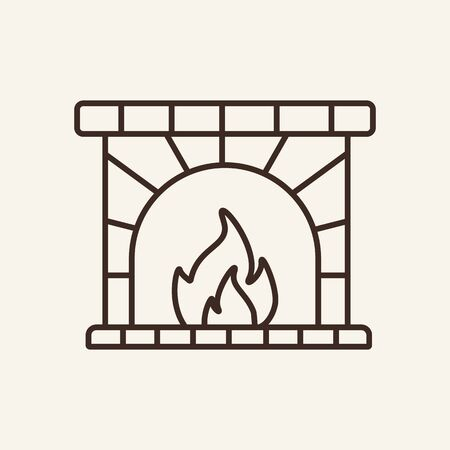 Fireplace line icon. Winter, coziness, home. Winter concept. Vector illustration can be used for topics like winter activities, family vacation, holidays