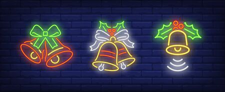 Bells with mistletoe leaves neon signs set. Christmas, signal, attention design. Night bright neon sign, colorful billboard, light banner. Vector illustration in neon style.
