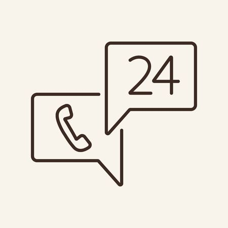 Steady available hotline line icon. Telephone, twenty four hours, service. Technical support concept. Can be used for topics like hotline, communication, telemarketing  イラスト・ベクター素材