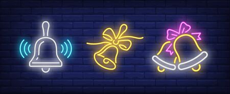 Ringing bells and bows neon signs set. Christmas, signal, attention design. Night bright neon sign, colorful billboard, light banner. Vector illustration in neon style.  イラスト・ベクター素材