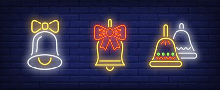 Bells with bows neon signs set. Christmas, signal, attention design. Night bright neon sign, colorful billboard, light banner. Vector illustration in neon style.  イラスト・ベクター素材