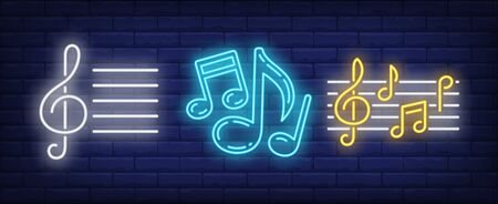 Stave, treble clef and music notes neon signs set. Melody, classical music, sound design. Night bright neon sign, colorful billboard, light banner. Vector illustration in neon style. Illustration