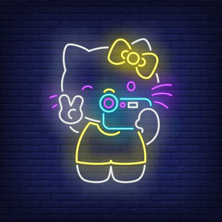 Cute kitten taking photo neon sign. Pet, animal, decor design. Night bright neon sign, colorful billboard, light banner. Vector illustration in neon style.