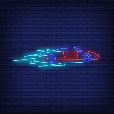 Sport auto driving fast neon sign. Glowing neon automobile. Race, competition, motor car. Night bright advertisement. Vector illustration in neon style for shop, business
