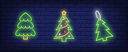 Christmas tree neon sign collection. New Year, Christmas, garland. Night bright advertisement. Vector illustration in neon style for banner, billboard