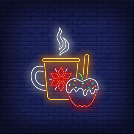 Hot drink and apple in caramel neon sign. Tea, glint wine, dessert. Night bright advertisement. Vector illustration in neon style for poster, banner