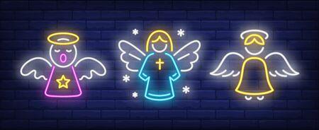 Singing angel neon sign set. Religion, heaven, aureola. Night bright advertisement. Vector illustration in neon style for banner, billboard Illustration