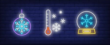 Winter neon sign set. Bauble with snowflake, thermometer, snowfall. Vector illustration in neon style for topics like December holidays, Christmas vacation, New Year Ilustrace