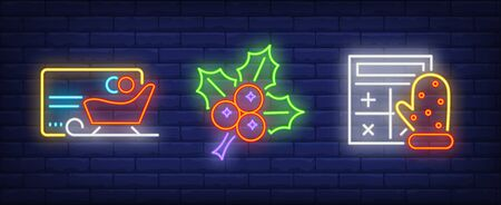 Xmas symbol neon sign collection. Sledge, present, TV. Night bright advertisement. Vector illustration in neon style for banner, billboard