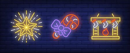 Christmas symbol neon sign collection. New Year, lollipop, fireplace. Night bright advertisement. Vector illustration in neon style for banner, billboard Illustration