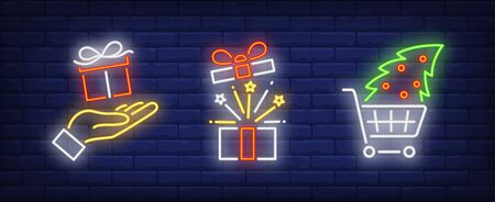 Christmas present set in neon style. Santa, New Year, presents. Night bright advertisement. Vector illustration in neon style for banner, billboard